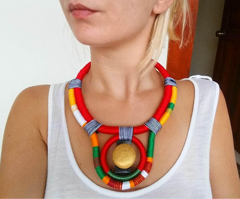 SUN Ethnic necklace Rope Necklace Thread Necklace Glass Beads image 0