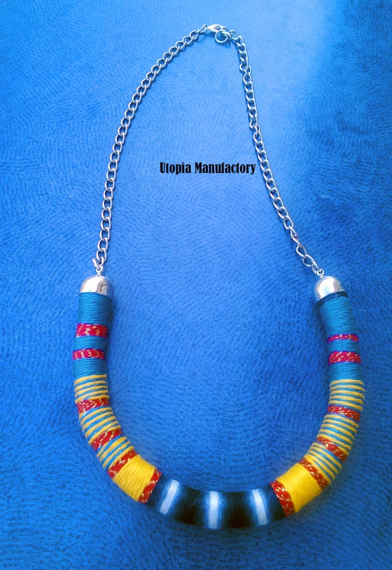 Boho Necklace African Jewelry Rope Necklace Choker Necklace Thread Necklace African Jewelry Thread Wrapped For Her Bohemian Necklace