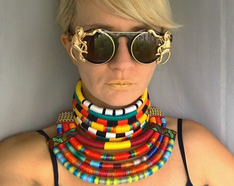 Colorful Necklace, African Necklaces, 2in1, Statement Necklace, Afro Choker, African Necklaces, Ethnic Necklace, African Jewelry for women