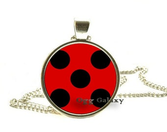 Miraculous Ladybug Pendant Necklace, Hypoallergenic Nickel Free Jewelry