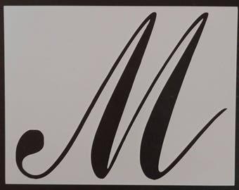 large big script cursive letter m custom stencil fast free shipping