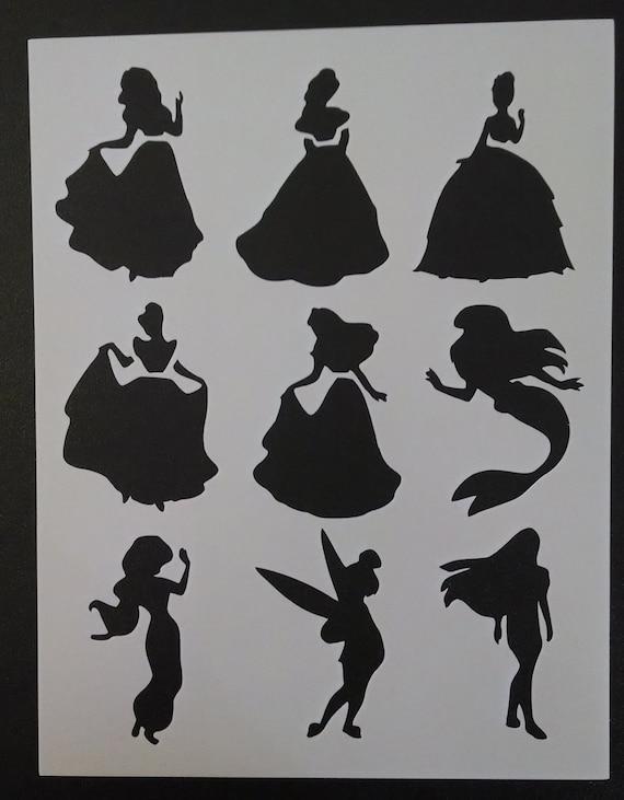 disney princess ariel belle tinkerbell custom stencil fast etsy