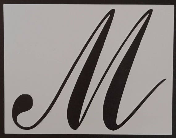 large big script cursive letter m custom stencil fast free etsy