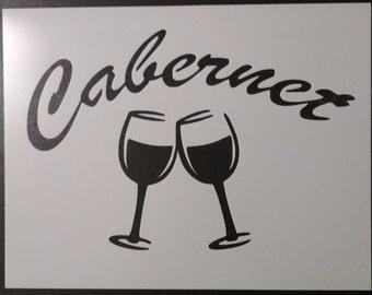 Cabernet Wine Glasses Glass Custom Stencil FAST FREE SHIPPING