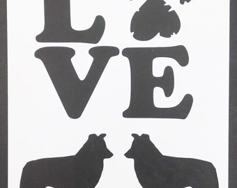 Love Border Collies Collie Dog Dogs Custom Stencil FAST FREE SHIPPING