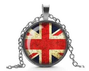Union Jack Flag Necklace, British Flag Pendant, Grunge Jewelry, Glass Cameo Pendant Cabochon Tile Necklace, Flag Jewelry, Handmade Jewelry
