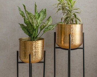 """Indoor Iron Hammered Planter with Stand """"Ritu"""" / Handmade from Iron with Elegant Golden Finish / Available in 2 Sizes or as a Set"""