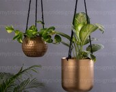 Modern Planters, Set of 2, Minimalist metal plant holder, Copper Finish, Modern planter, Hanging plant pot, Brass finish