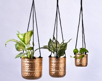 Hammered Hanging Planters with Golden Finish / Contemporary Indoor Hanging Plant Pots / Modern Planters / Available in 3 Sizes or Set of 3
