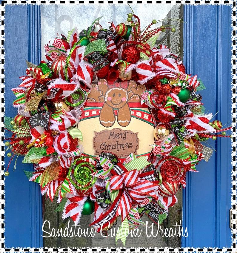Christmas Gingerbread Cookie Jar Mesh Wreath Holiday Decor Mesh Christmas Gingerbread Cookie Christmas Christmas Cookie Holiday Wreath