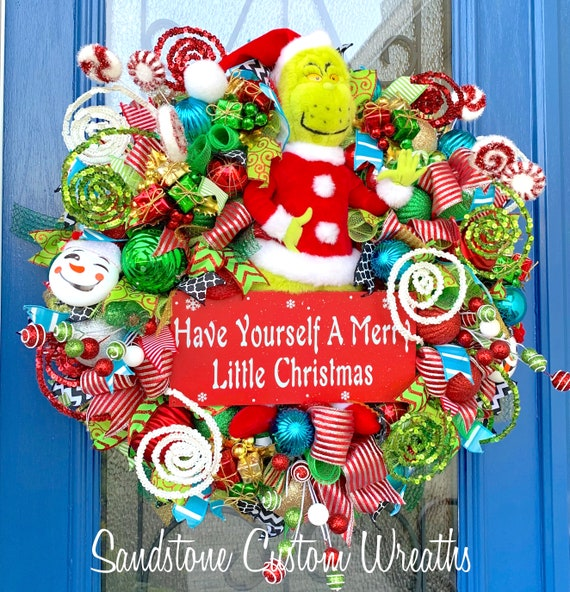 Christmas Wreath Monster With Gift Wreath Holiday Wreath Etsy