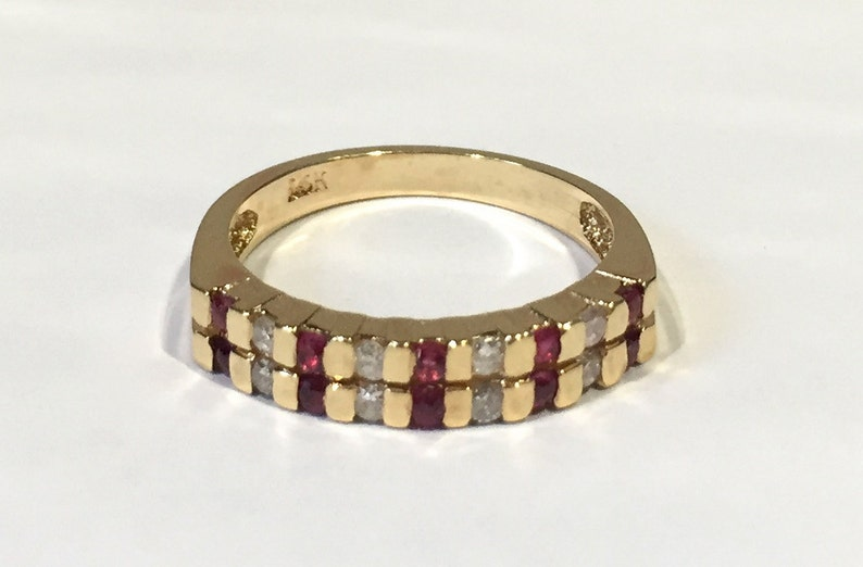 Ruby And Diamond Alternating Band Style Ring, 14K Yellow Gold Wedding  Band/Anniversary Ring, 1980's Channel Set Ring All High Polished