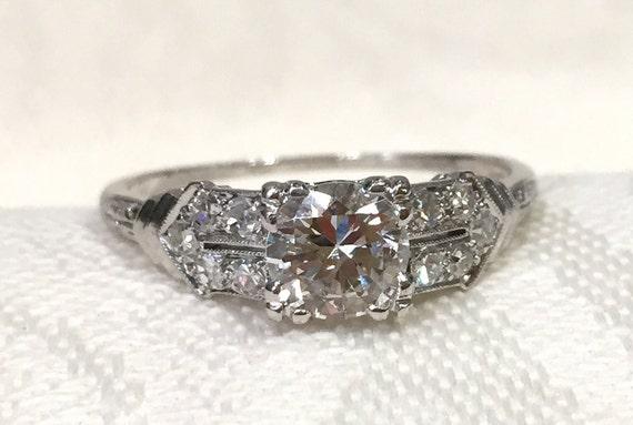 0b4a16bad6 Art Deco Filigree RingPlatinum Diamond Engagement Ring | Etsy