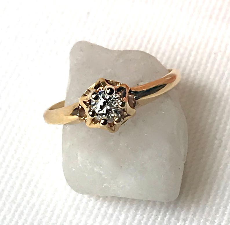 1940/'s Old Mine Cut Diamond Estate Ring Yellow Gold Solitaire Diamond RingPromise Ring Vintage Diamond Engagement Ring