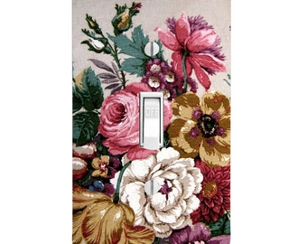 Vintage Antique Floral Light Switch Cover, Housewarming, Lighting, Wall Decor, Kitchen Decor, Bathroom Decor, Double Light Switch, gift