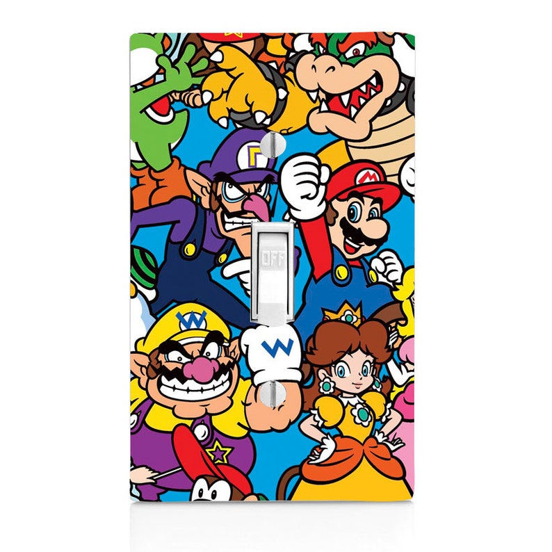 Nintendo Characters Game Room Kids Room Light Switch Cover Etsy