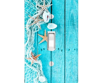 Beach Decor Light Switch Cover, Starfish Seaside, Bathroom Decor, Housewarming Gift, Lighting, Home Decor, LightSwitch, Double Switch