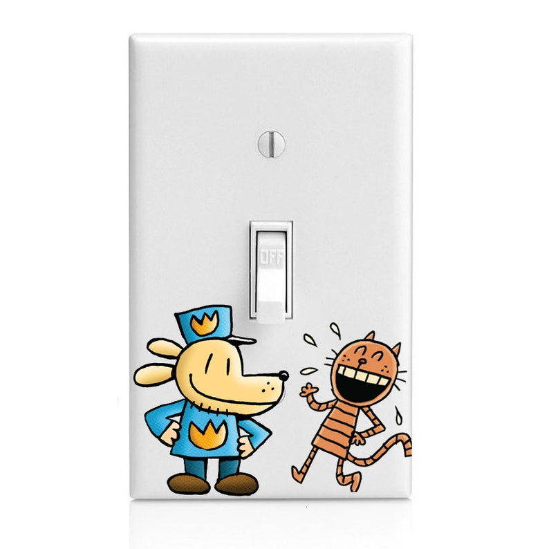 Dog Man Flat Petey Kids Light Switch Cover Kitchen Decor Etsy