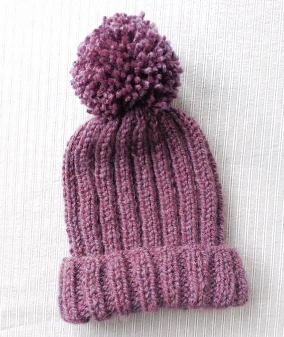 Knitted Ribbed Bobble Hat Pattern Pom Pom Hat Knitting Etsy