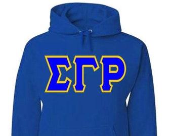 37cd33a5c81a Sigma Gamma Rho  Hoodie  Jumbo Greek Lettered Tackle Twill Hooded Sweatshirt  (Royal