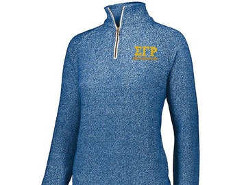 cb0192c9 Sigma Gamma Rho [1/4 Zip] Quarter Zip Cuddly Pullover with Greek Letters &  Text in Old Gold Thread - 1/4 zip