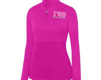 4fa2b7c3 Gamma Phi Beta [1/4 Zip] Shadow Tonal 1/4 Zip Pullover - Pink/White Thread