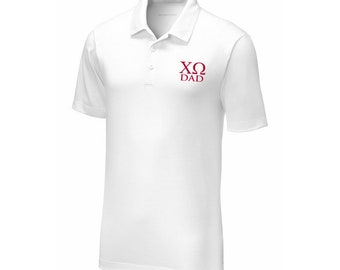 fe9c24d2 Chi Omega Dad Posicharge Tri Blend Wicking Polo Embroidered in Red Thread