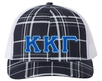 3b755d4ea454e Kappa Kappa Gamma  Hat  Sorority Greek Letter Plaid Snapback Trucker Cap  (Royal w Lt. Blue border)