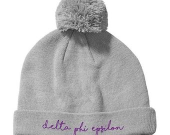 80e5a093c32 Delta Phi Epsilon Knit Pom Beanie