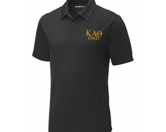 6941aa69 Kappa Alpha Theta Dad Posicharge Tri Blend Wicking Polo Embroidered in Old  Gold Thread