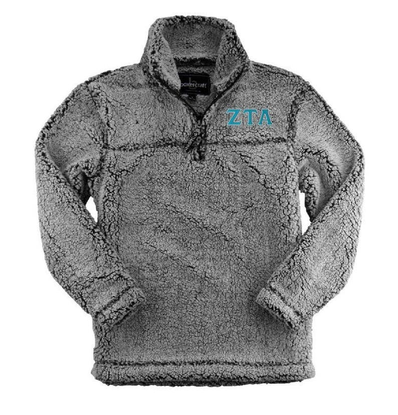 Zeta Tau Alpha Sherpa Pullover TealSilver Thread