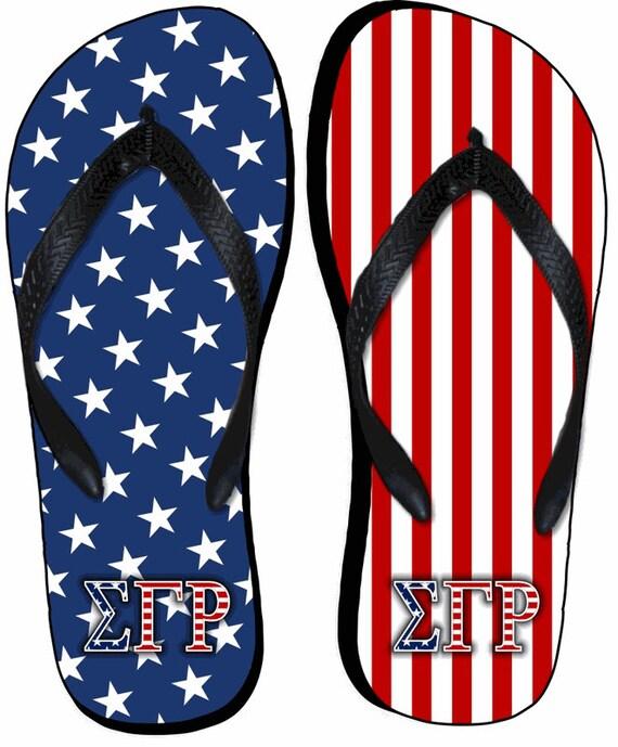 dcd0924fd0cc Sigma Gamma Rho American Flag Flip Flops