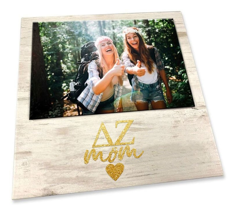Delta Zeta White 7 x 7 Faux Wood Picture Frame with Gold Sparkle