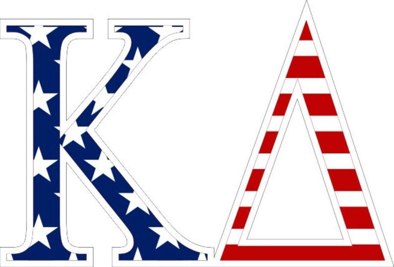 Greek Letter Before Kappa.Kappa Delta American Flag Greek Letter Sticker 2 5
