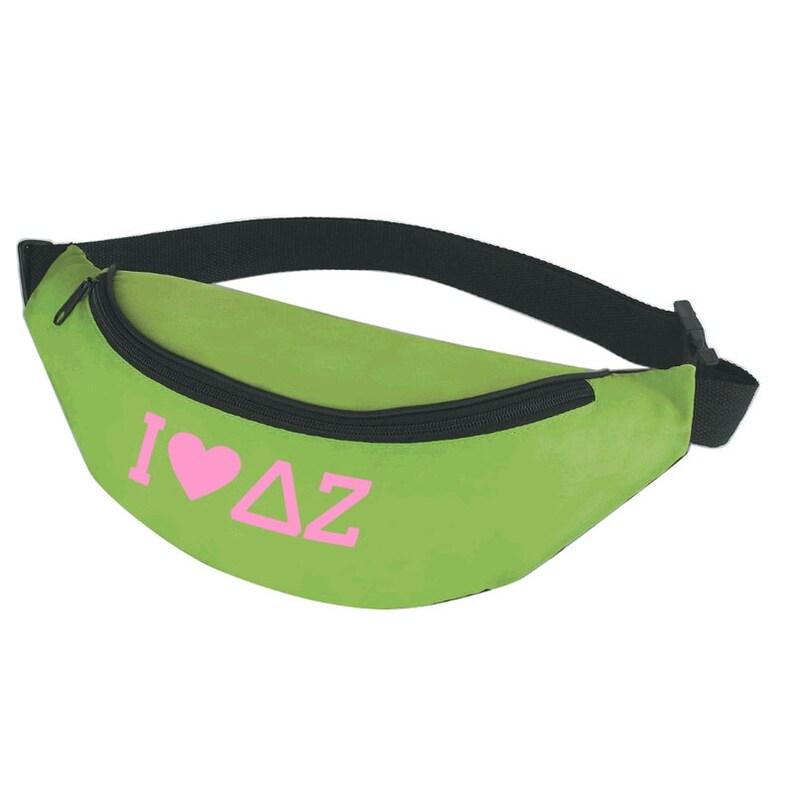 Delta Zeta Sorority Fanny Pack Neon Green w//Light Pink Imprint Color
