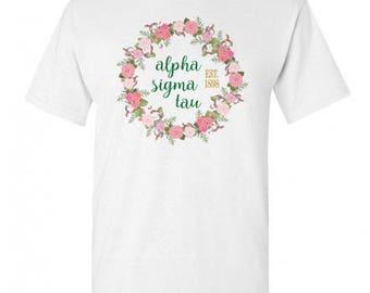 Alpha Sigma Tau Maicy Floral Tees