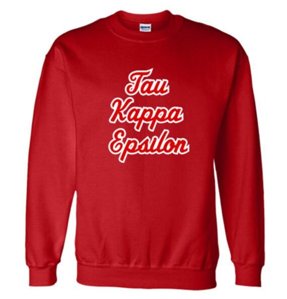 Tau Kappa Epislon Twill nom Crewneck Sweatshirt (rouge/blanc)