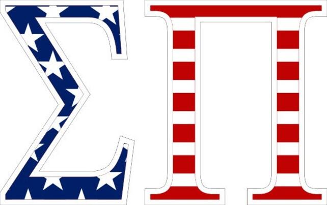 Sigma Pi American Flag Greek Letter Sticker 25 Etsy