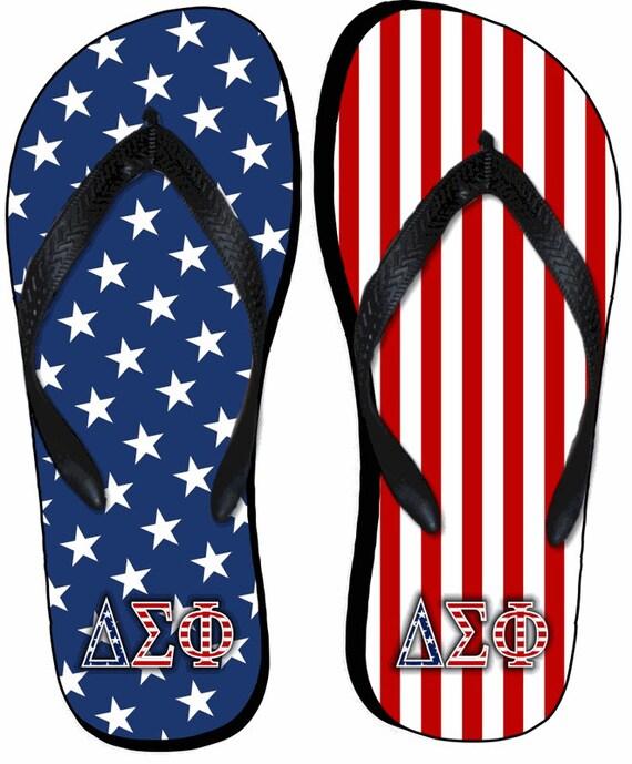 1e70e5639e08 Delta Sigma Phi American Flag Flip Flops