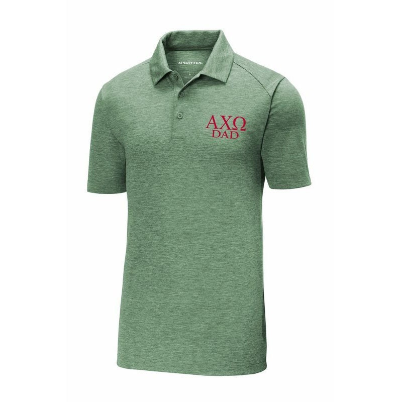 5ff64195 Alpha Tau Omega Dad Posicharge Tri Blend Wicking Polo Emroidered in RED  Thread