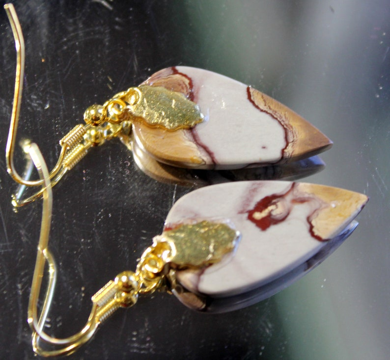 Gold-Plated Ear-Wires or 2 Trapazoid Cab 2 Choices 1 Teardrop Cab Silver-Plated Ear-Wires * COBRA JASPER EARRINGS