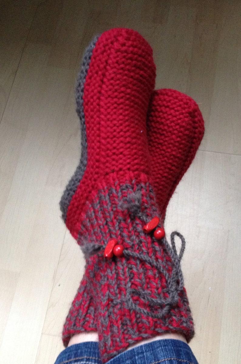 c2a48b3e2e1 Patron PDF Chaussons laine adultes bicolores sans couture sous