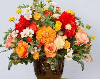 Silk Flower Arrangement Etsy