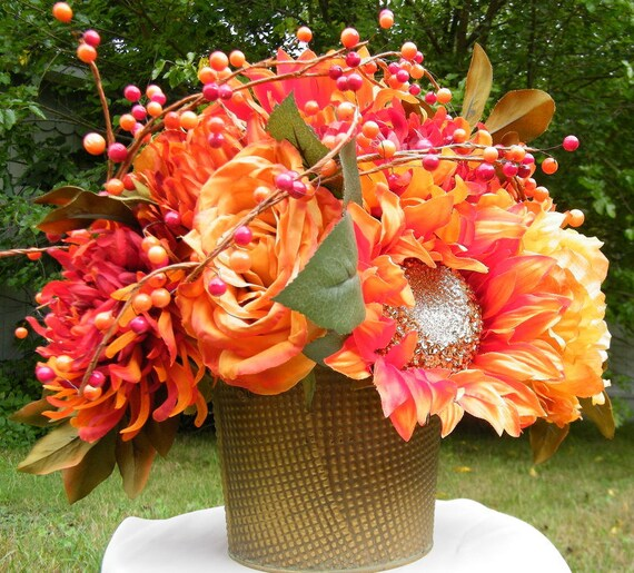 Lovely Fall Table Centerpiecewedding Centerpiece Silk Floral Etsy