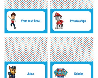 SELF EDIT/DIY personalised Paw Patrol table tents! Two designs included!