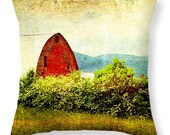 Barn Pillow, Rustic Pillow, Country Pillow, Rural Pillow, Landscape Decor, Old Barn Decor, Red Barn, Amish Country, Green trees, country art