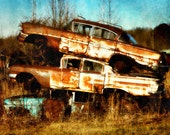 Junkyard Car, Vintage cars, Abandoned Automobile, Three Amigos, Stacked Cars, Old Cars, Car Lover Gift, old BMWs, Car Collector, Car Print