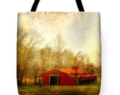 Red Barn Tote, Barn Tote Bag, Book Bag, Photo Tote Bag, Landscape Tote, Tennessee Country, Red Barn Pillow, Country Pillow, Rural Country