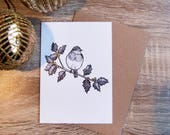Gold Robin and Holly, A6 Greeting Card, Hand Finished Card, Scandinavian Christmas