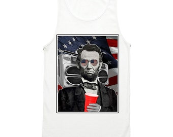 e43f2098705467 Abroham Lincoln Tank Top - Funny Abe Lincoln Party Tank Top - Abolish  Sleevery - USA Shirt - 4th of July Tank - Bro - America - Patriotic